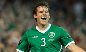 Republic of Ireland's Kevin Kilbane celebrates after scoring the opening goal of the Euro 2012, Group B qualifying football match between Republic of Ireland and Andorra at Aviva Stadium in Dublin, Ireland on September 7, 2010. AFP PHOTO / PETER MUHLY (Photo credit should read PETER MUHLY/AFP/Getty Images)